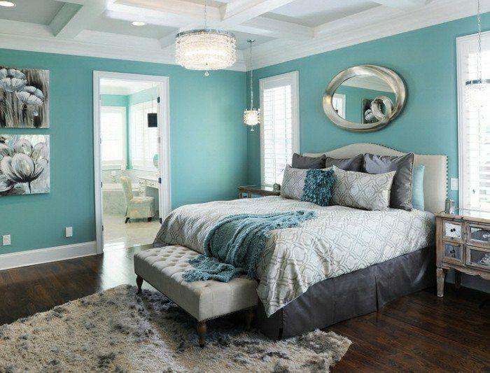 Superbe Chambre Turquoise Peinture Blanc Et Noir Miroir Ovale  Conception