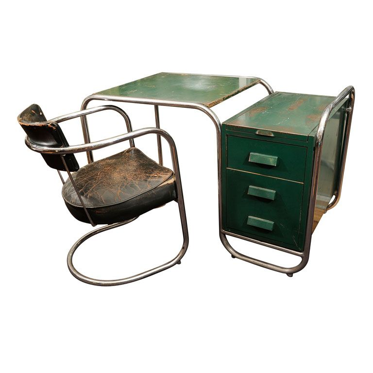 chrome furniture. machine age continuous chrome tube desk with lacquered metal side drawers and top furniture k