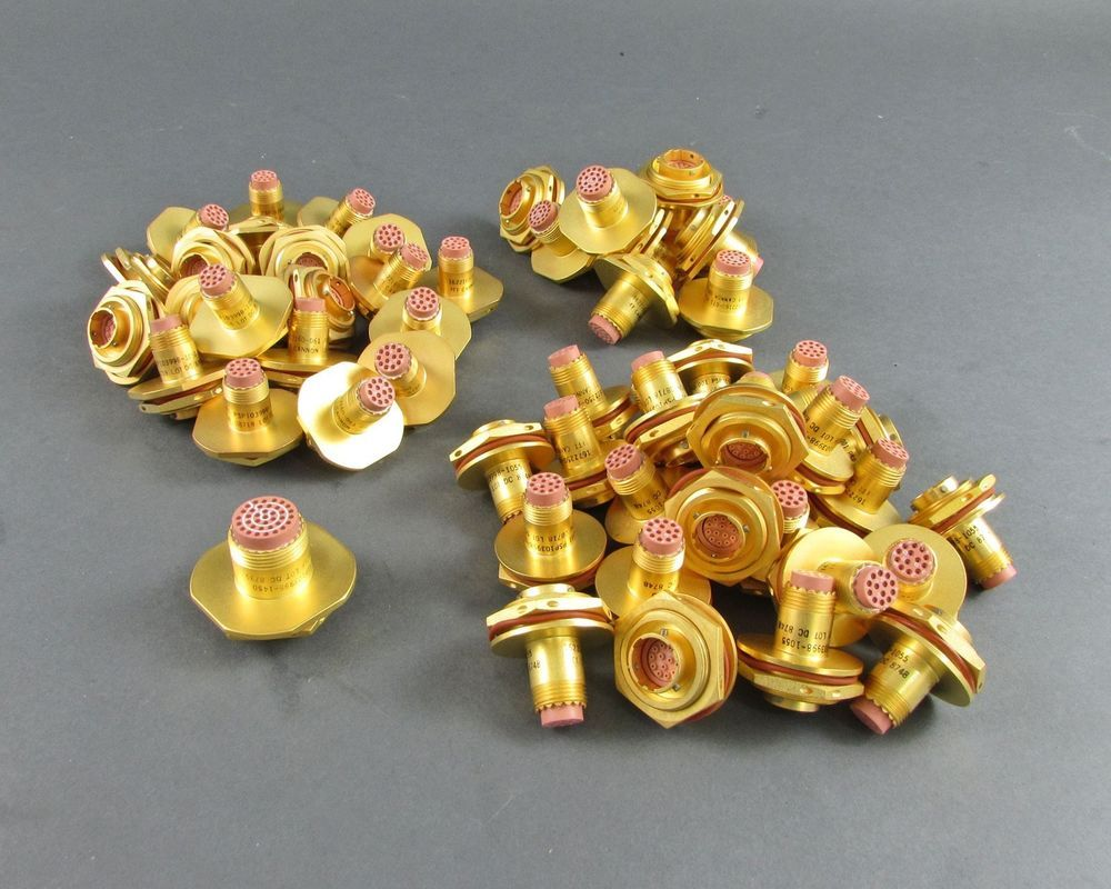 Lot Of 57 Gold Plated Itt Cannon Connectors Recovery Scrap 25a Generator Circuit Breaker 10 Ebay Sponsored