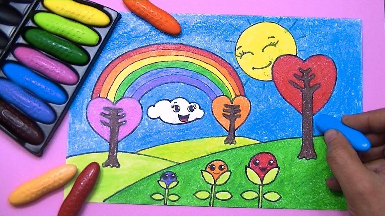 رسم منظر طبيعي مع قوس قزح والتلوين باقلام الشمع Drawing For Kids Coloring For Kids Art Drawings