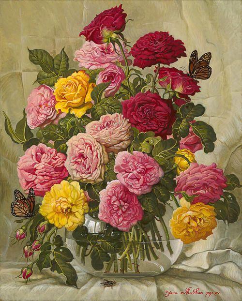"Yana Movchan ~ Flock of Roses, 20x16"", oil on canvas.  http://www.yanamovchan.com  Yanina (Yana) Movchan was born in Kiev in 1971."