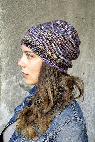 c81e370fcd8 Simplest Slouchy Hat by Irina Anikeeva. malabrigo Worsted in Deja Vu  colorway.