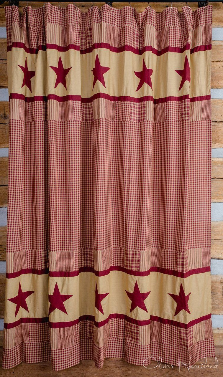 Jamestown Burgundy Shower Curtain In 2020 Primitive Shower