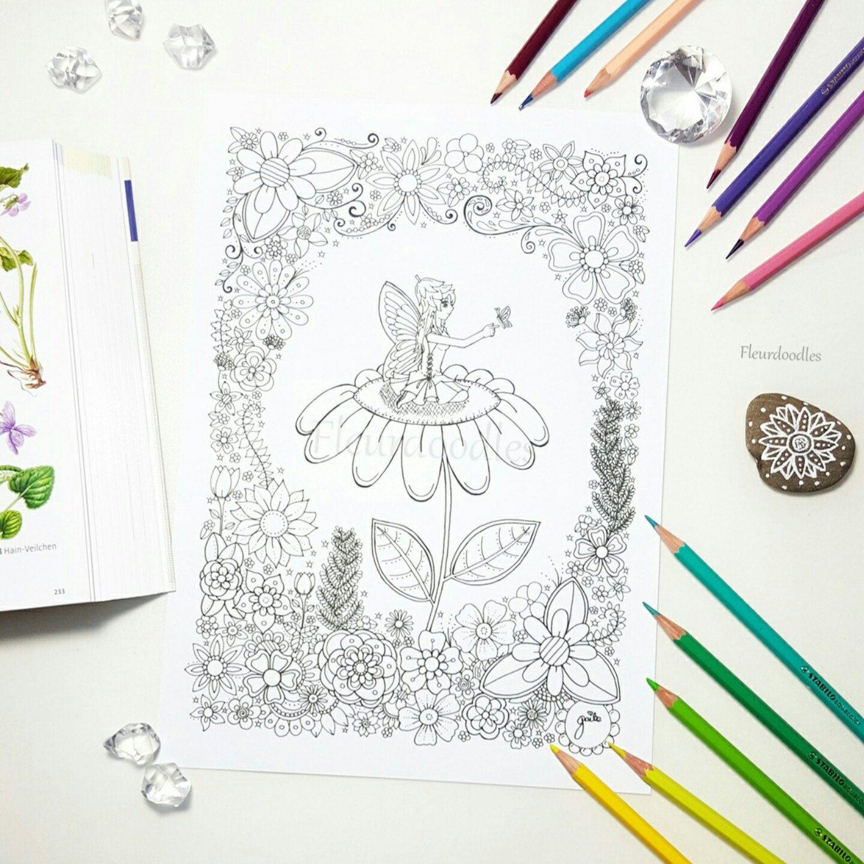 Malseite zum Ausdrucken , Elfe Fee Schmetterling Blumen ...