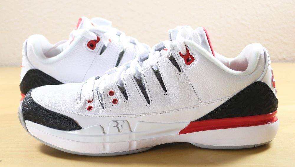 5cc6cf2c138 Nike Zoom Vapor RF x AJ3 Jordan 3 Retro Roger Federer Fire Red 709998-106  sz 8