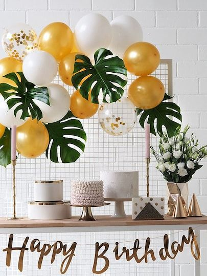 Artificial Tropical Leaf 5pcs & Decorative Balloon 15pcs #tropicalbirthdayparty