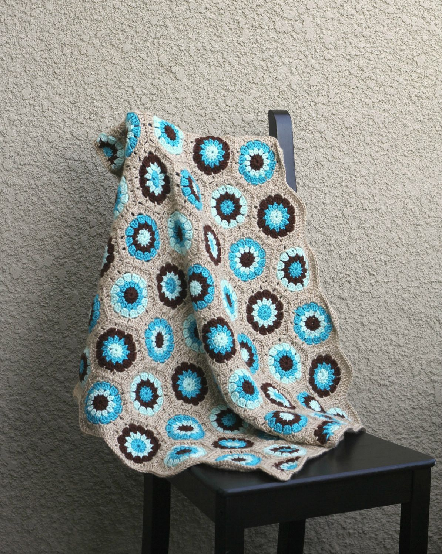 Crochet baby blanket colorful baby blanket blue brown beige newborn ...