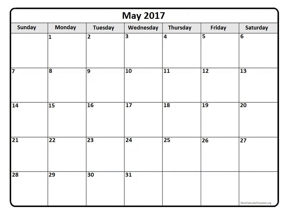 May 2017 Monthly Calendar Template | 2017 Printable Calendars