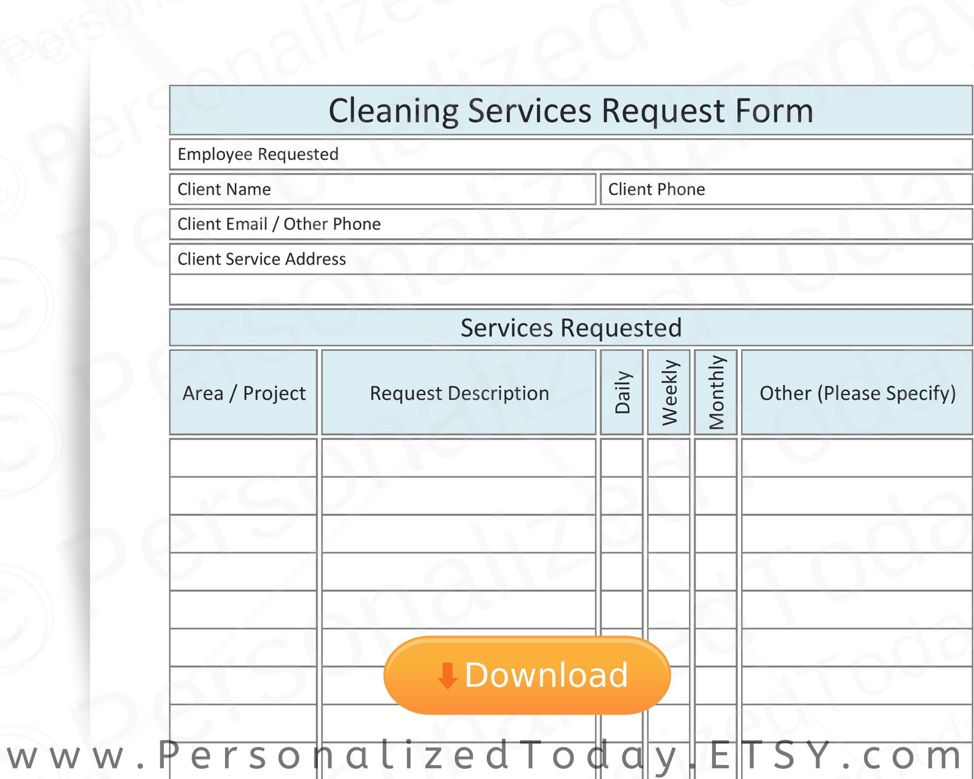 Printable Cleaning Business Services Estimation Proposal Request