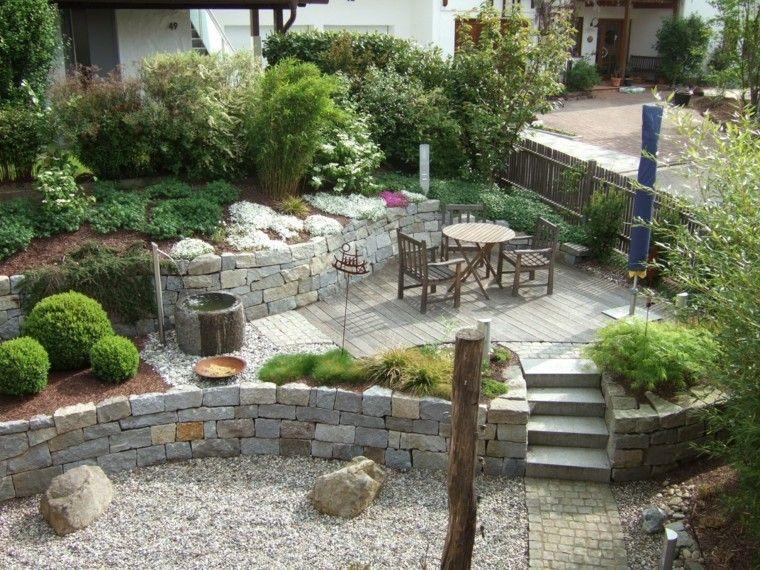 Muros en el jard n 75 ideas que te encantar n muro de for Decoracion de jardin con piedras grandes