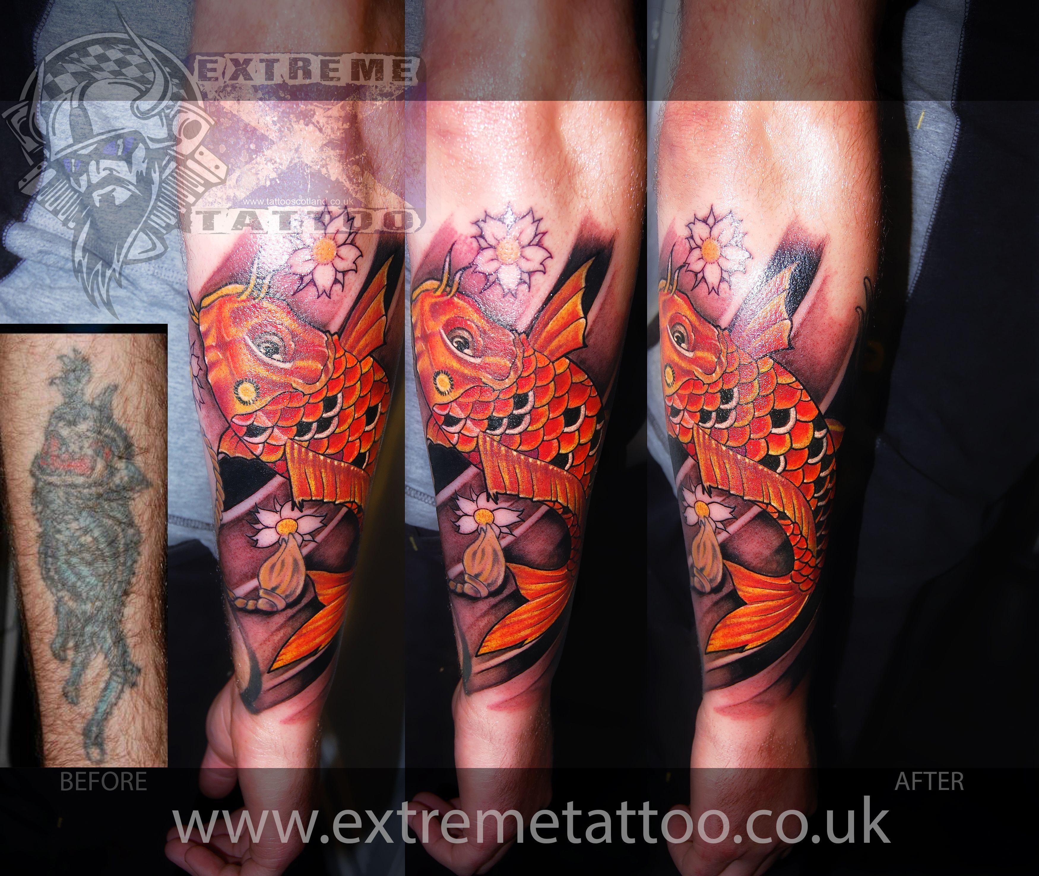 Japanese koi fish tattoo, cover up tattoo,sleeve in progress,Gabi ...