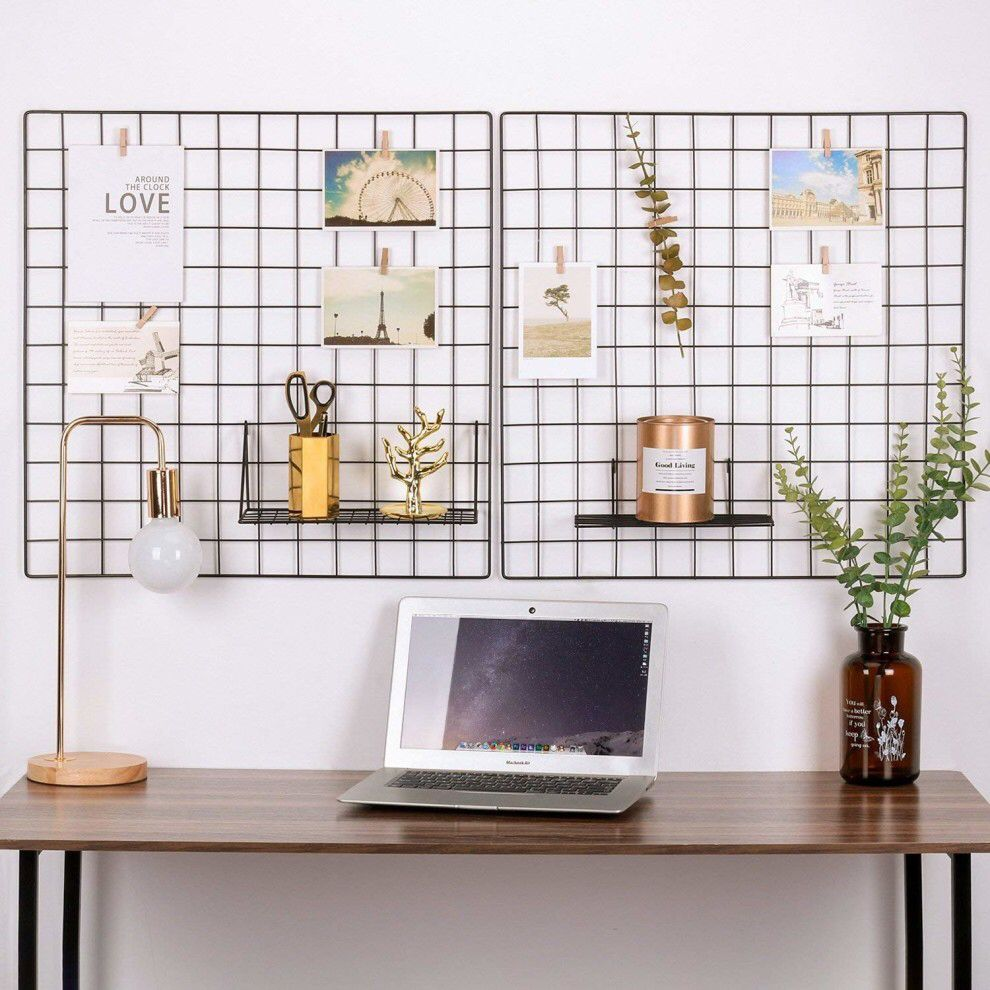 A wire grid for hanging up important notes and pictures