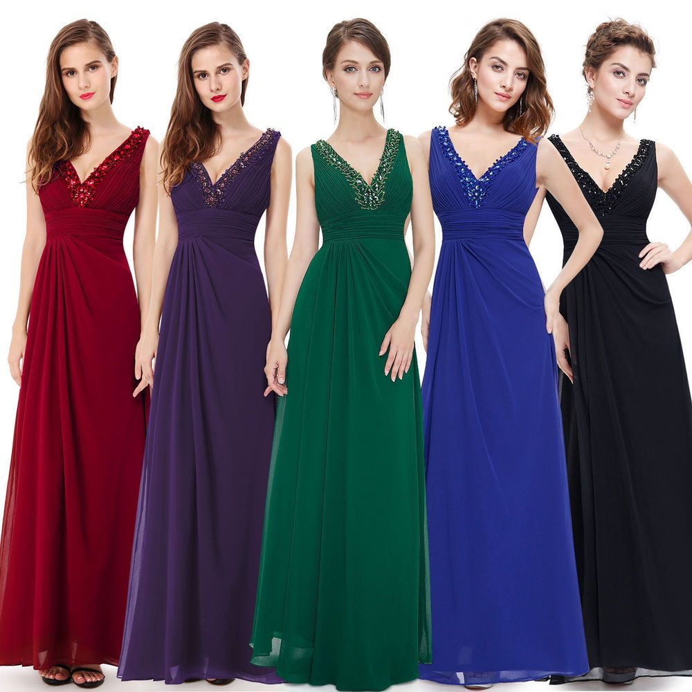 Chiffon long prom dress bridesmaid dresses size ball gown