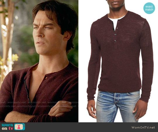 Damon's burgundy henley on The Vampire Diaries. Outfit Details: http://wornontv.net/54696/ #TheVampireDiaries