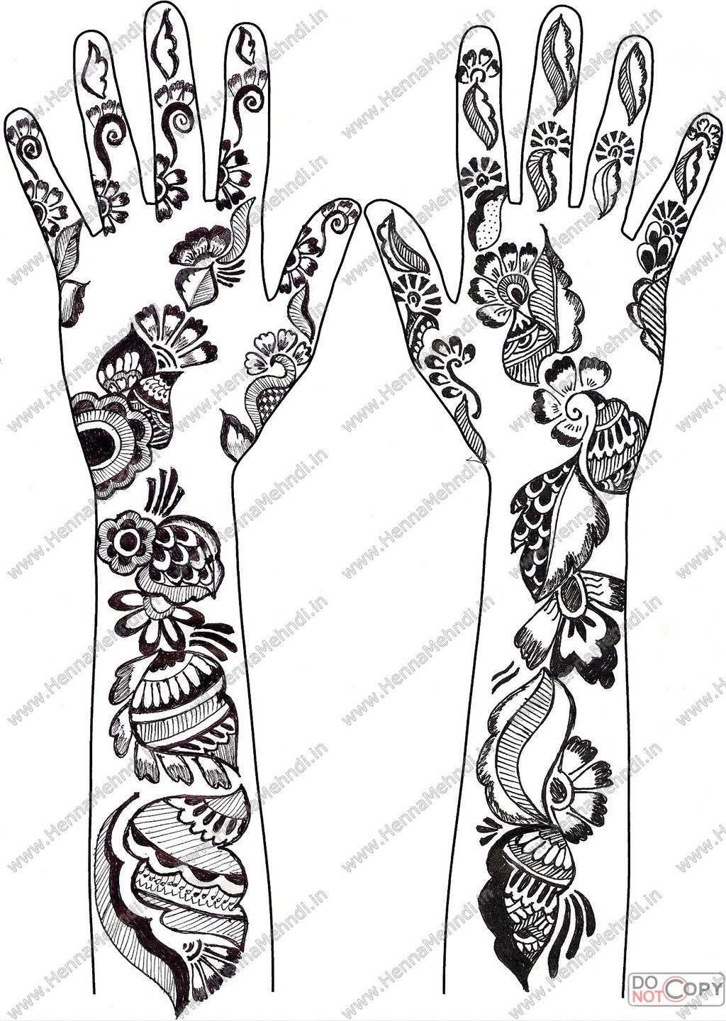 Coloring pages of mehndi hand pattern - Floral Henna Pattern For The Hands