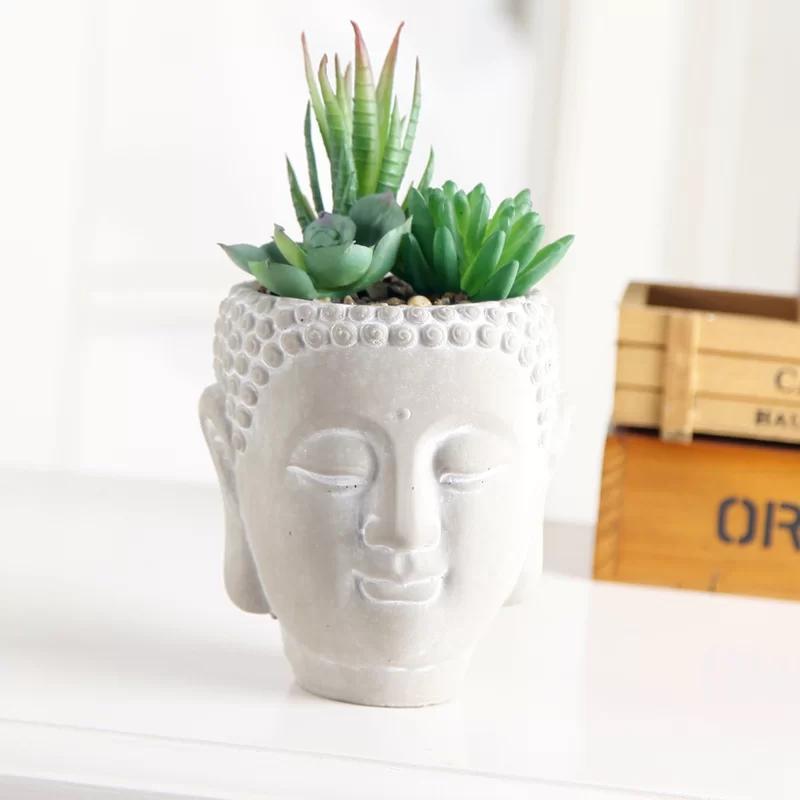Mix Desktop Succulent In Cement Budda Pot Clay Plant Pots Handmade Clay Pots Ceramic Flower Pots
