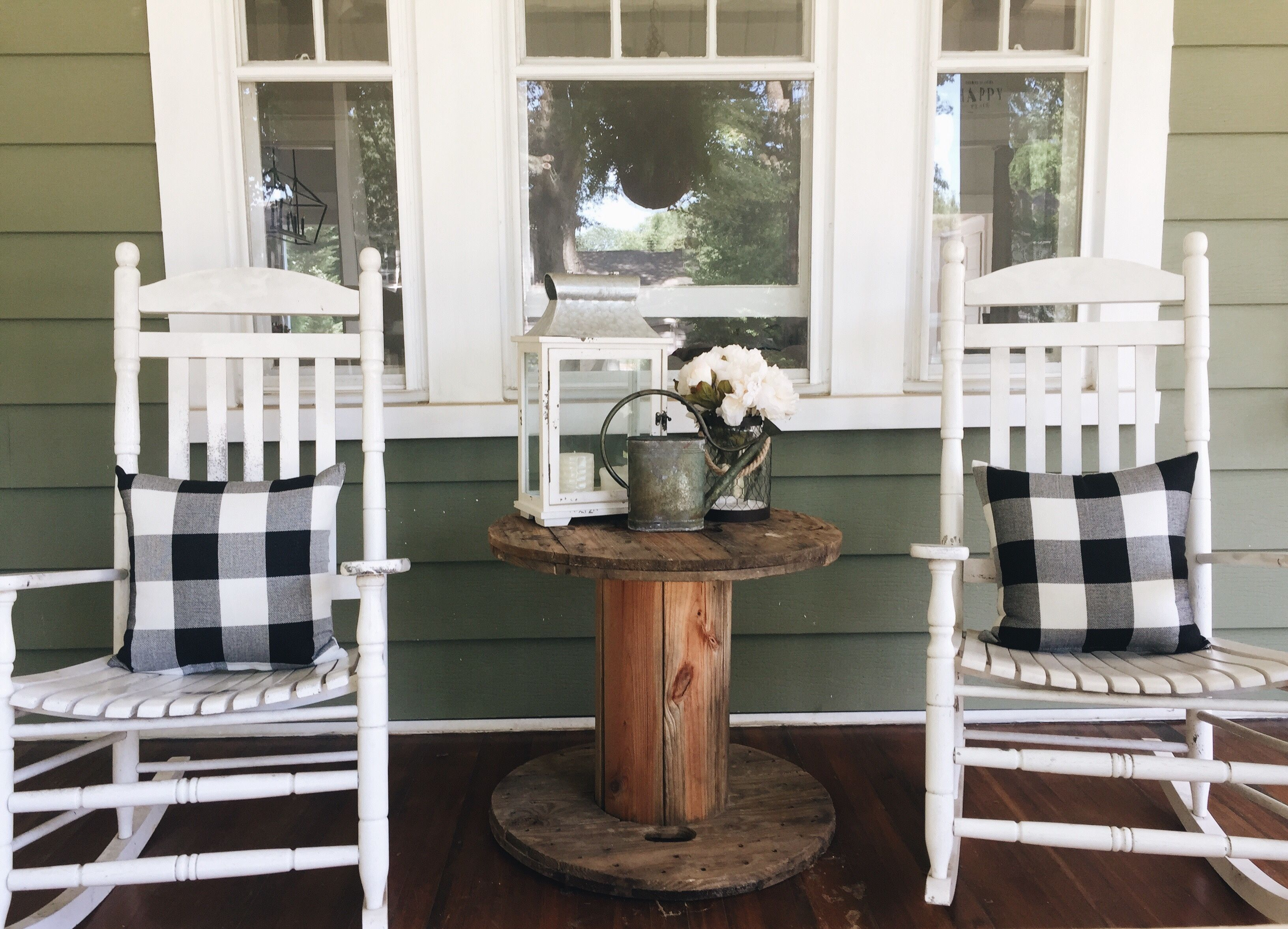 Front Porch Decor Cable Reel Table Black And White Buffalo Check Rocking Chair Green Hou Summer Front Porches Front Porch Decorating Fall Front Porch Decor