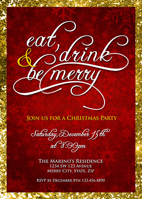 Christmas Party Invitation Eat Drink