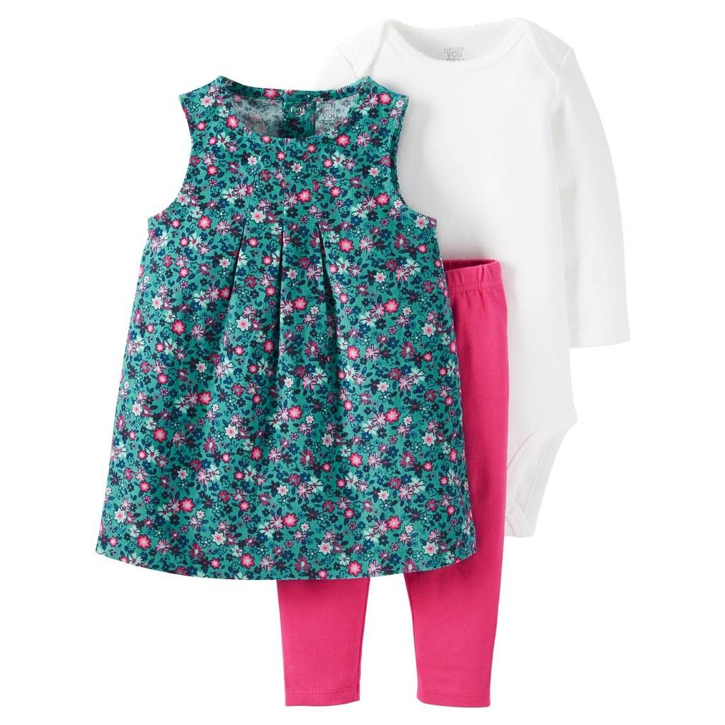 Just One You™Made by Carter's® Baby Girls' 3 Piece Floral Jumper/Solid Legging Set - Blue/Pink. Image 1 of 1.