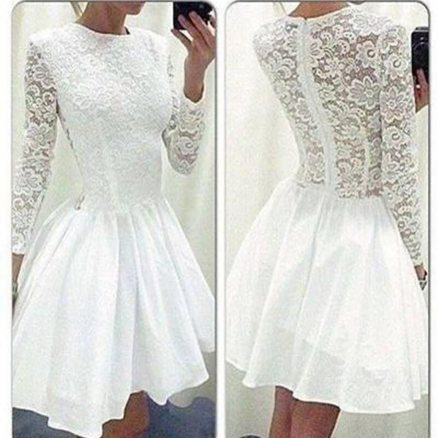 long sleeve white lace tight special rehearsal homecoming prom