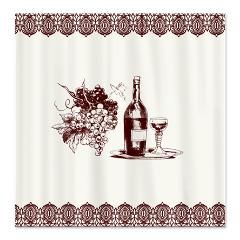 Vintage Grape And Wine Fabric Shower Curtain