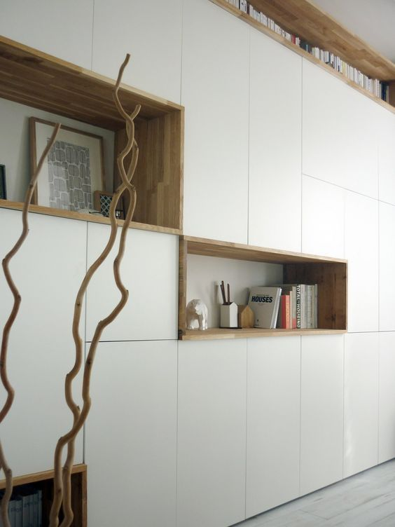 mur rangements blanc bois scandinave meuble salon Pinterest