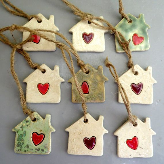 Photo of Set of 5 Houses Christmas baubles with a heart