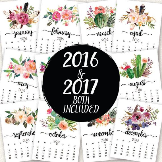 Watercolor Floral Calendar, 2016 Calendar, 2017 Calendar, Floral - photo calendar