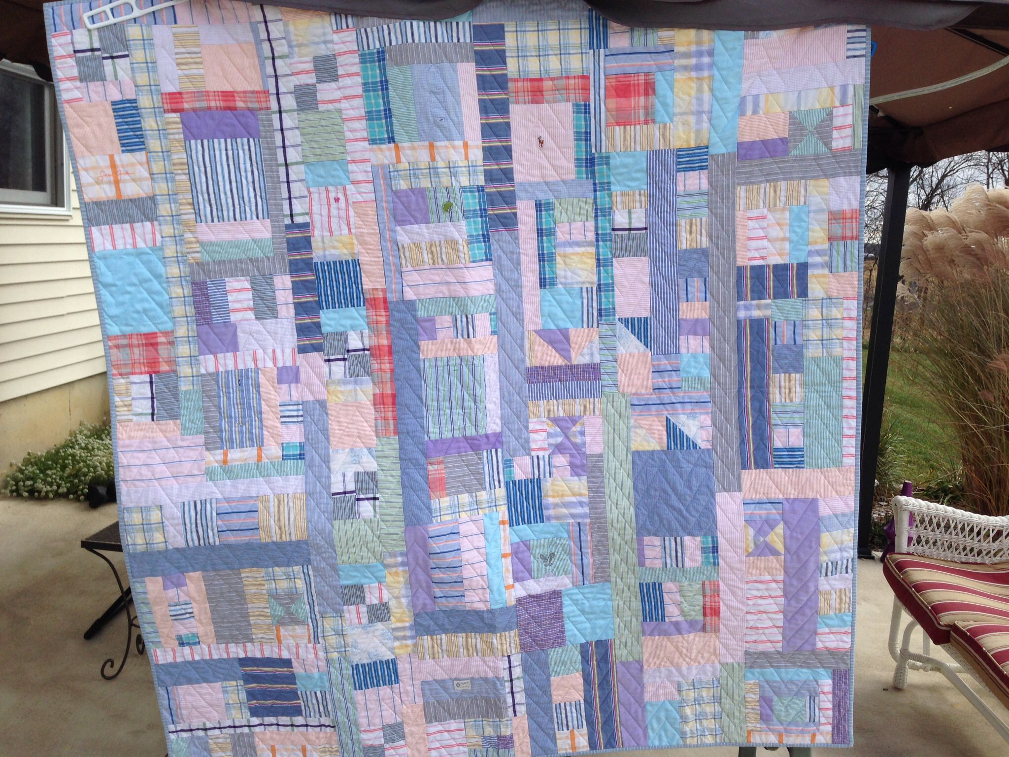 My quilt, made from cotton dress shirts