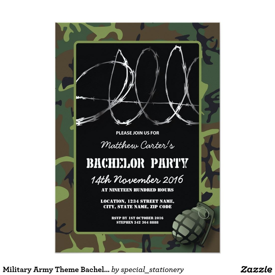 Military army theme bachelor party invitation bachelor party military army theme bachelor party invitation monicamarmolfo Choice Image