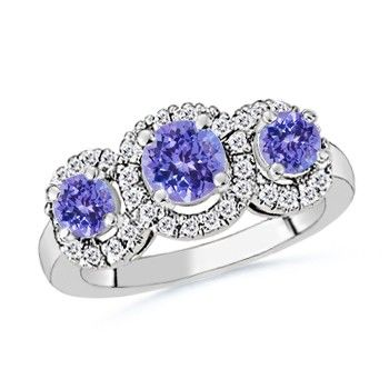 Angara Claw-Set Pear Amethyst and Diamond Halo Three Stone Ring 8pd17b