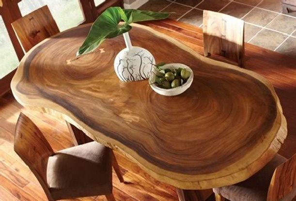 Mesas originales de tronco de abrol para tu comedor hola for Decoracion de mesas de comedor