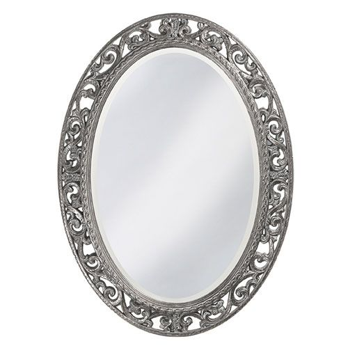 Howard Elliott Collection Suzanne Glossy Nickel Oval Mirror