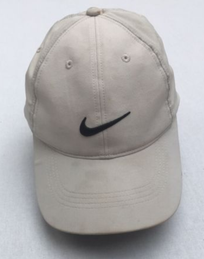 Vintage Nike 6 Panel Cap - Cream (Off White) And Black - Velcro Strap 8a9aa7bc2ac