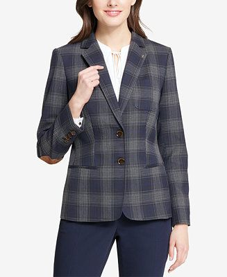 6e54ce640a2 Tommy Hilfiger Two-Button Plaid Blazer Women - Jackets - Macy s