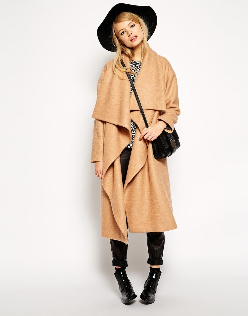Image 4 of ASOS PETITE Oversized Coat With Waterfall Drape ...