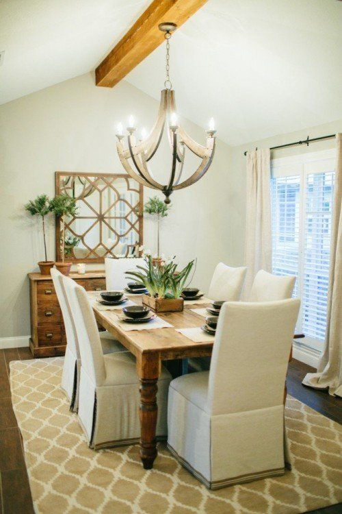 Fixer upper white cabinets dining area and house seasons for Joanna gaines dining room designs