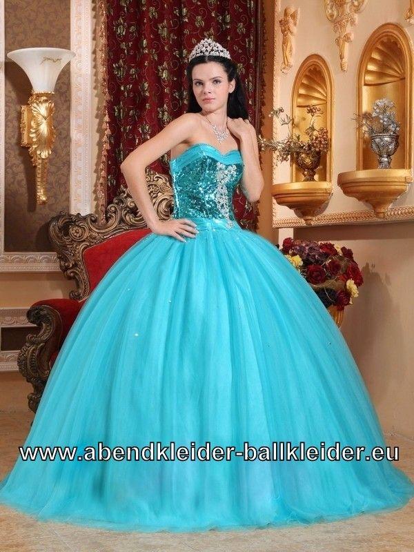 Bustie Pinar Sissi Kleid Ballkleid Weites Abendkleid in Hell Blau ...