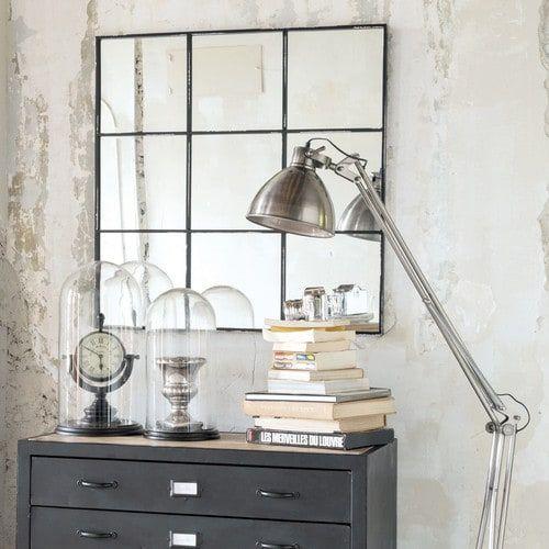Espejo de metal negro 90x90 Metal mirror, Living rooms and Room