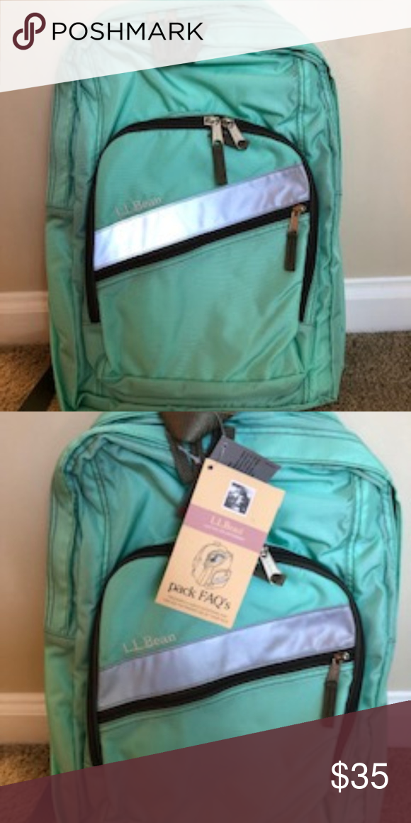 Mint L L Bean Deluxe Backpack New With Tags Backpacks New With Tags Reflective Material