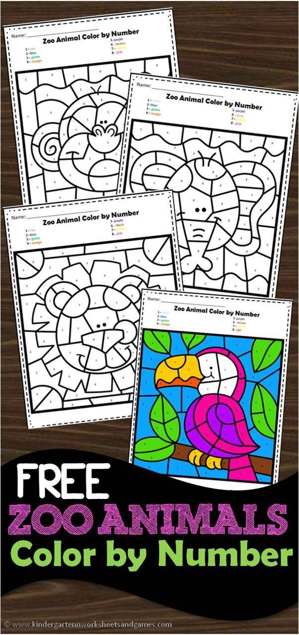 FREE Zoo Animals Color by Number Worksheets to help ...