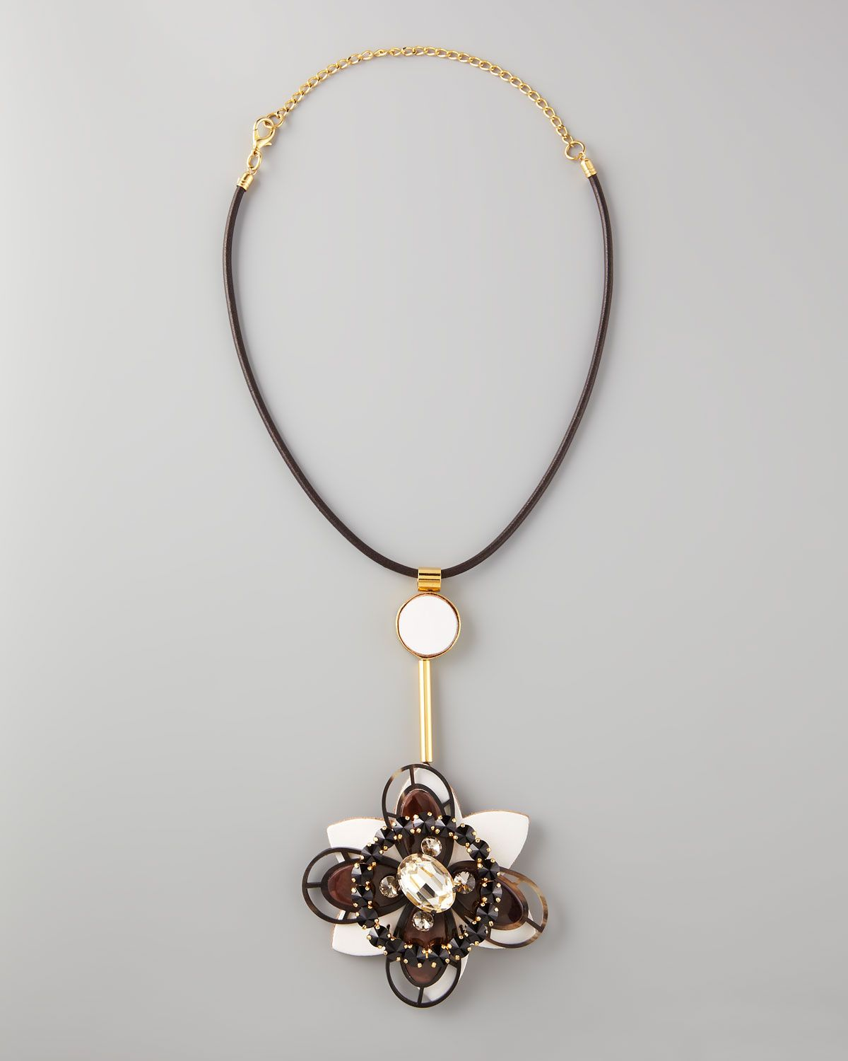 Marni Flower-pendant leather necklace ZHv5vlB