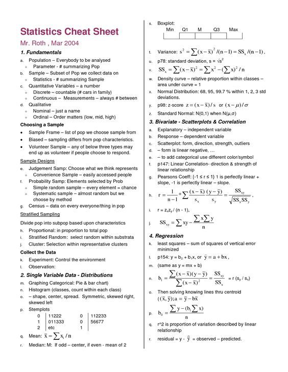 Statistics Symbols Cheat Sheet Google Search Math Pinterest