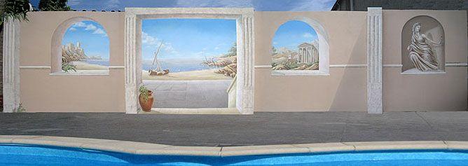 Tuinmuur buiten schildering, outdoor garden wall painting. peter pan murals, muurschilderingen.