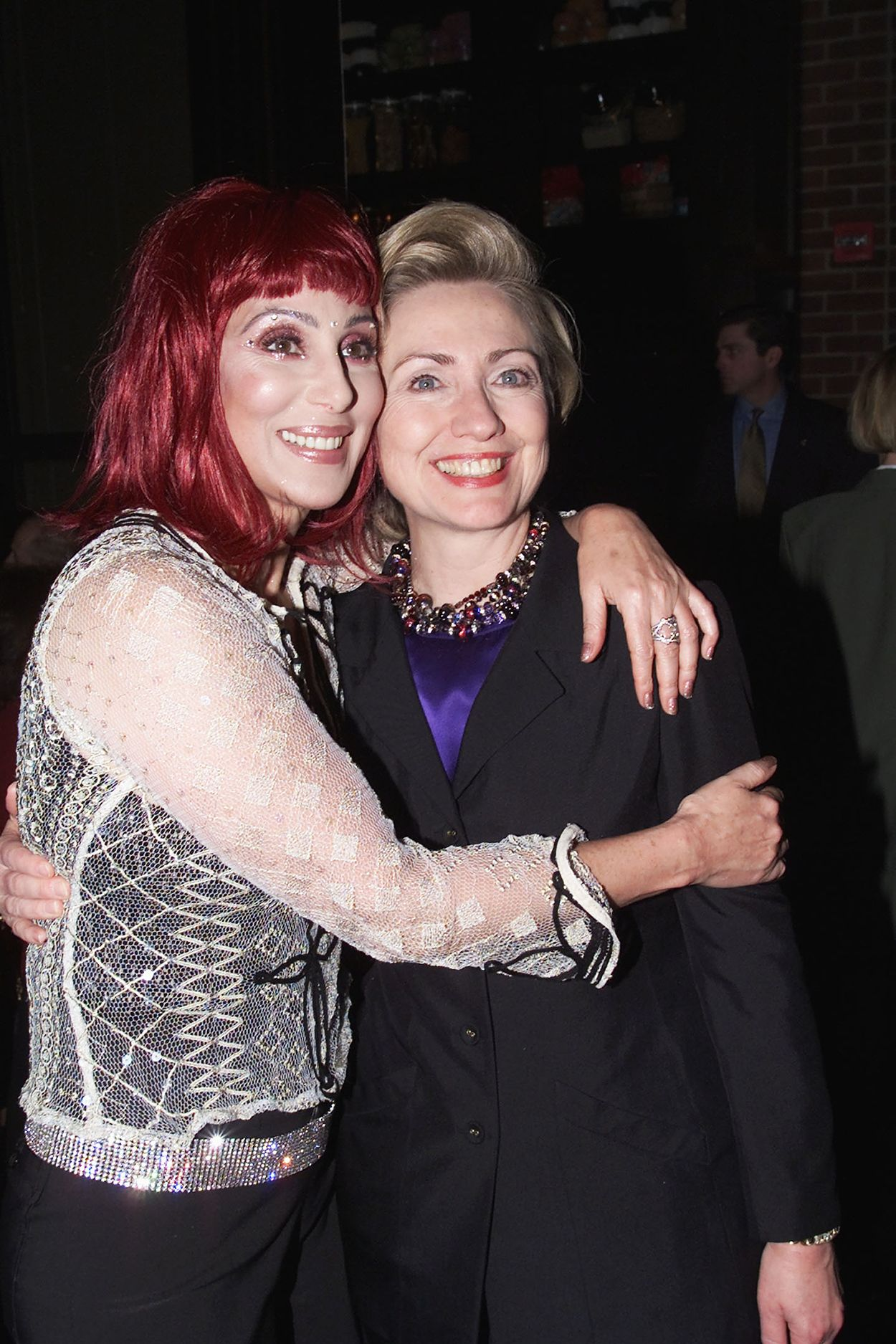 Cher and Hillary Clinton at Hillary Clinton's Birthday Party at the Hudson Hotel in New York City on Oct. 25, 2000   Billboard