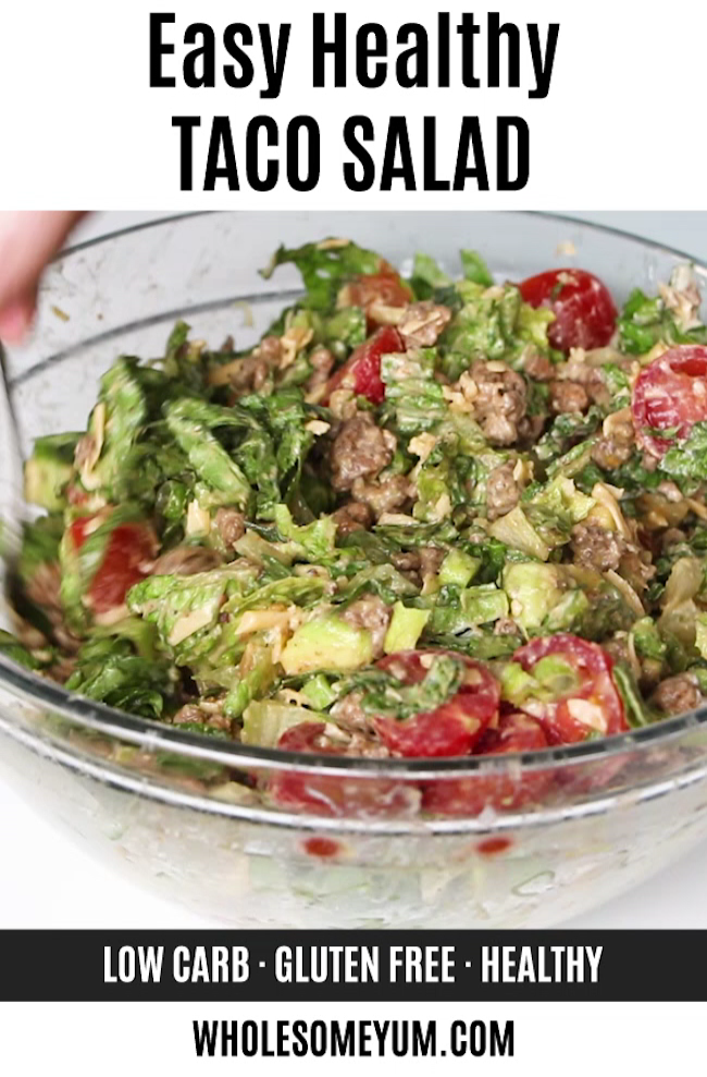 Easy Healthy Taco Salad Recipe With Ground Beef #groundbeeftacos