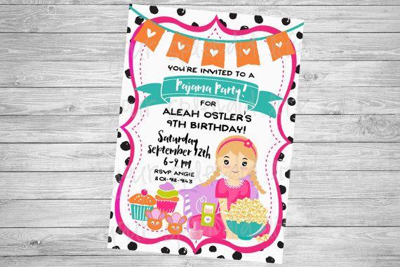 Pajama Party Digital Invitation by YourSplendidLife on Etsy