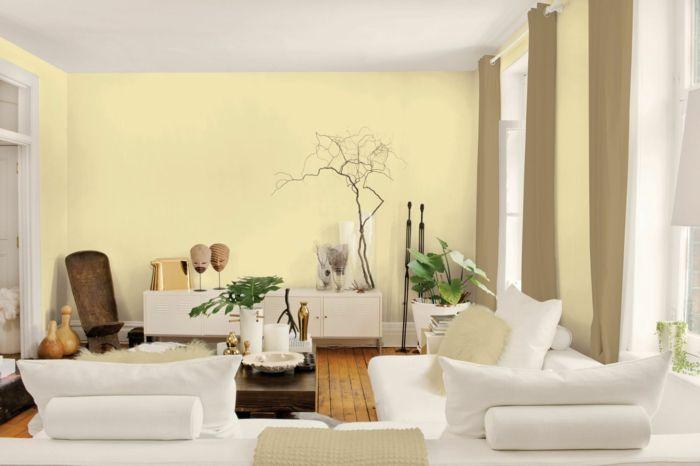 wandgestaltung ideen hellgelbe wände weiße möbel wandgestaltung