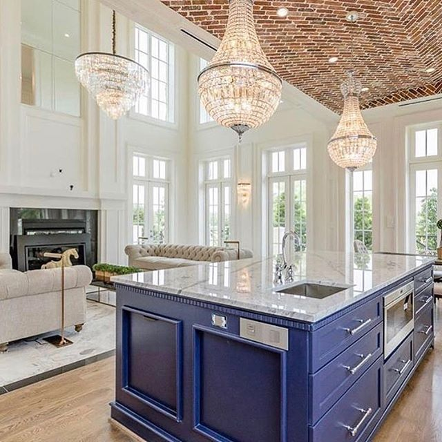 30 Brilliant Kitchen Island Ideas That Make A Statement: A Cobalt Blue Island And Brick Covered Barrel Vaulted