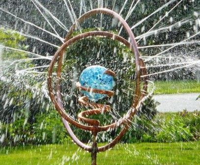 Artisan Garden Copper And Glass Sprinkler Garden Art